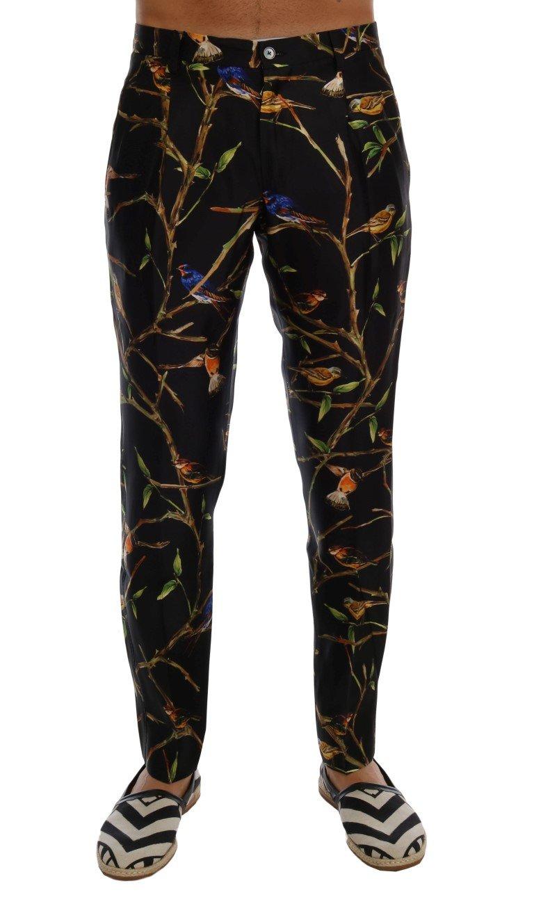 Dolce & Gabbana Men's Bird Tree Print Silk Trouser Black PAN60755 - IT44   XS