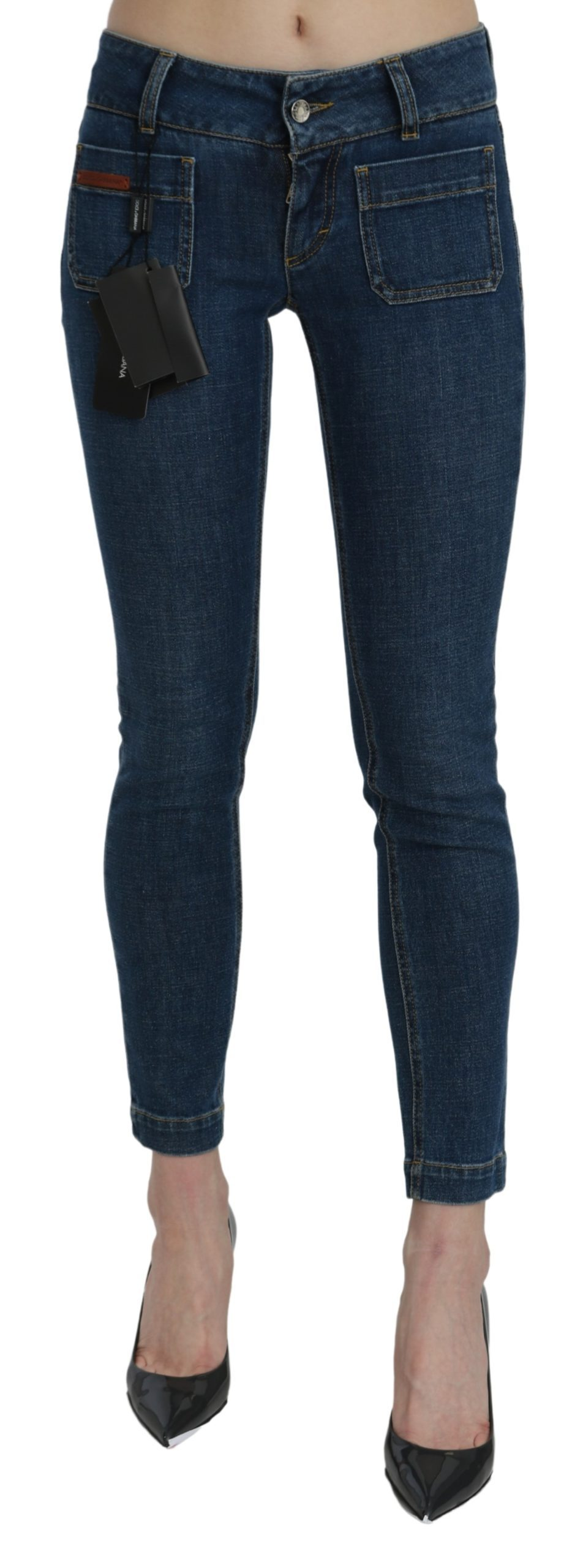 Dolce & Gabbana Women's Slim Fit Cropped Waist Denim Jeans PAN71062 - IT46|XL