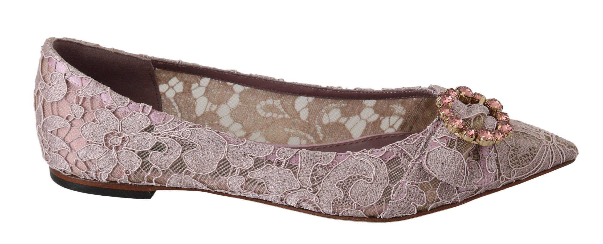 Dolce & Gabbana Women's Floral Lace Crystal Loafer Pink LA6287 - EU37/US6.5