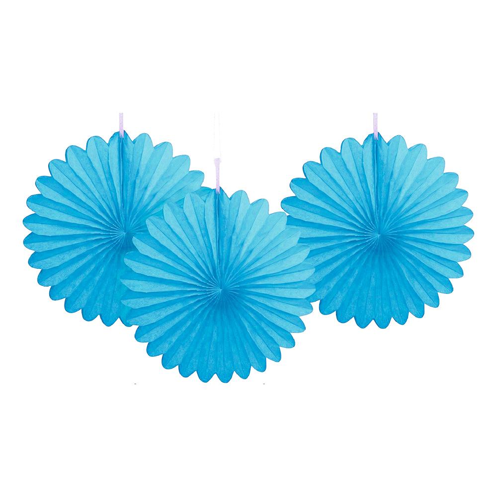Pappersfjädrar Ljusblå Mini Hängande Dekoration - 3-pack