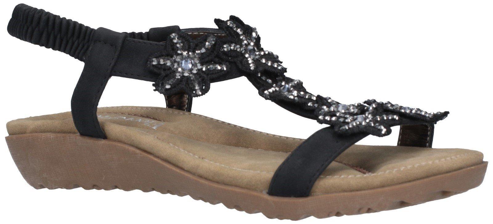Fleet & Foster Women's Magnolia Elastic Sandal Various Colours 28279 - Black 3