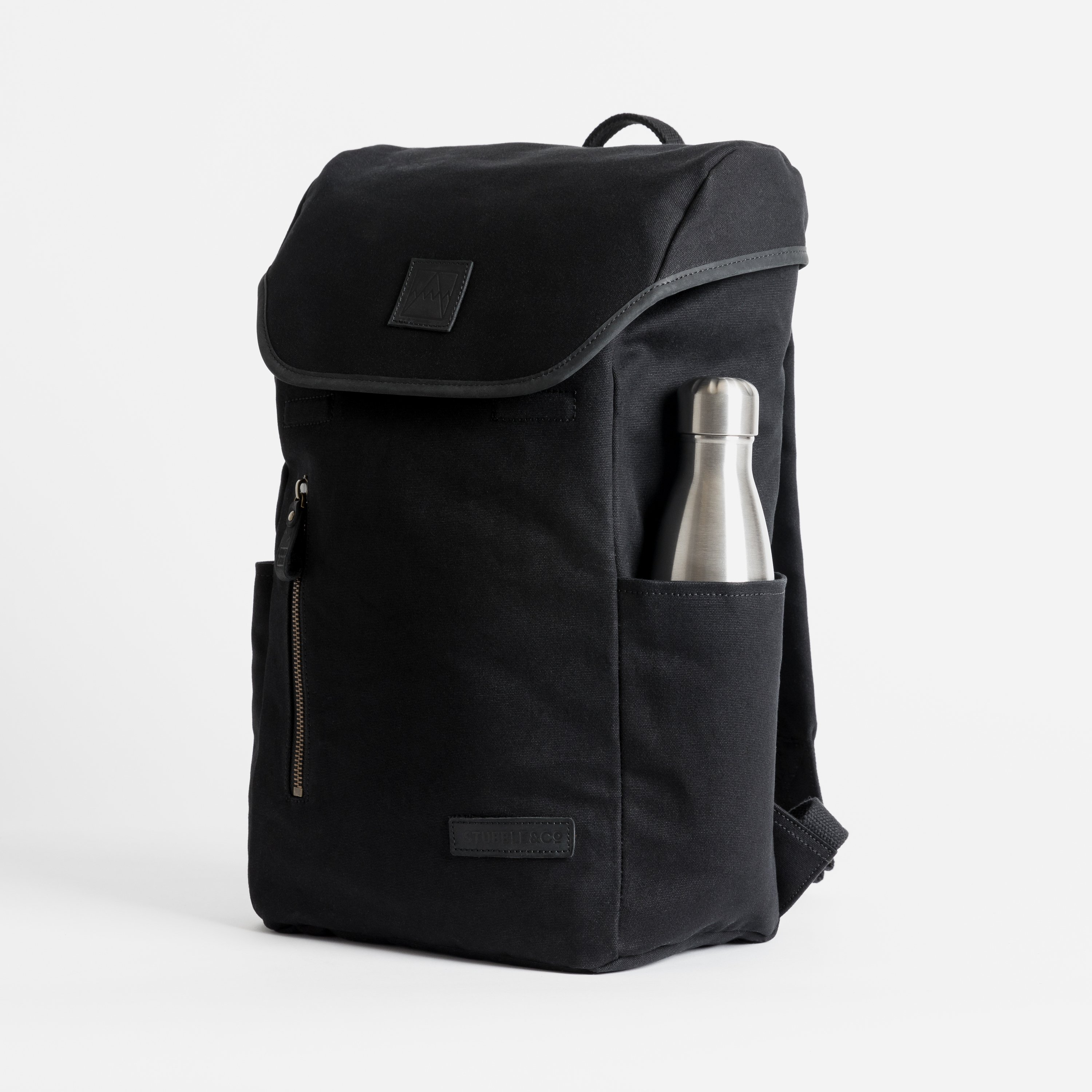 """The Backpack. Premium Waterproofed Canvas and Leather. 15"""" Laptop Pocket., Black"""
