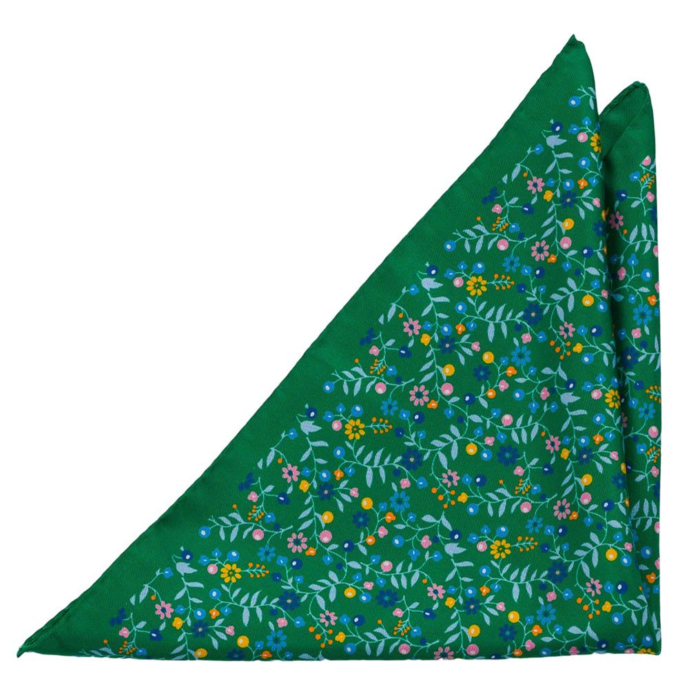 Silke Lommetørkler, Små, flerfargede blomster på smaragdgrønt, Grønn, Blomster