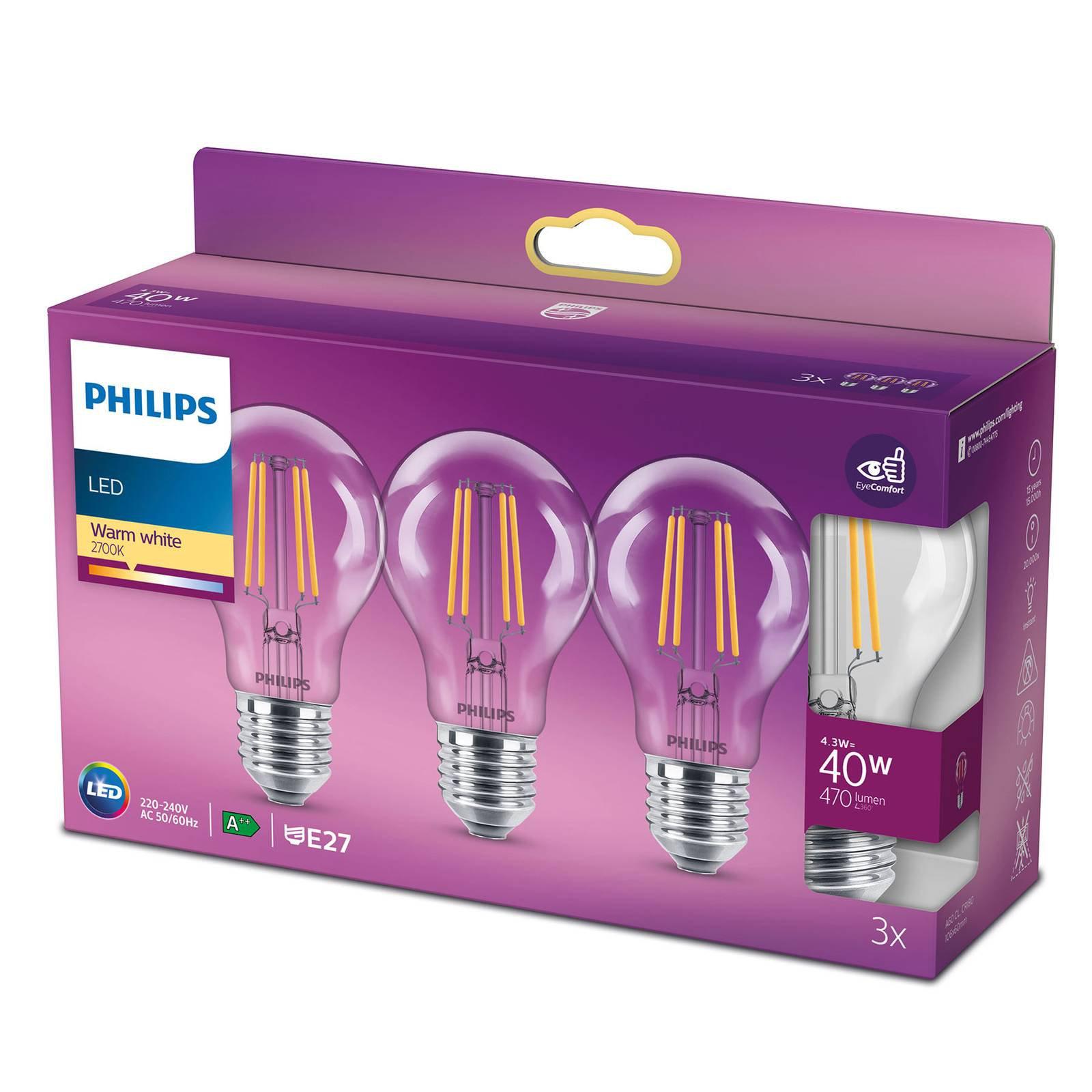 Philips LED-pære Classic E27 4,3W 2 700 K klar 3er