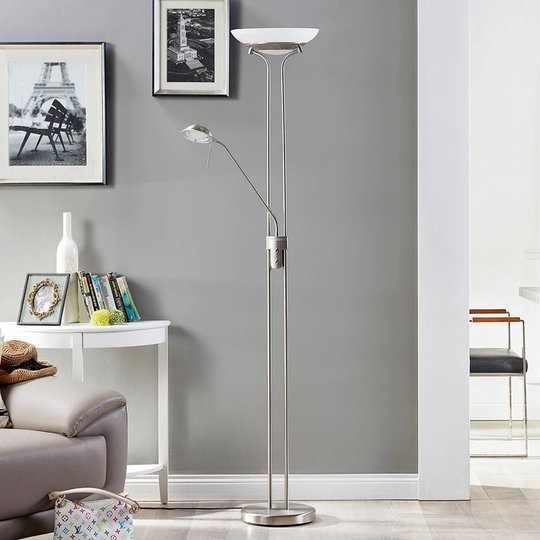 Uplight-lampe Yveta med LED-lys og leselampe