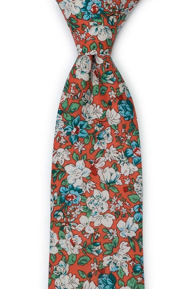 Bomull Slips, Turkise & hvite blomster på rustoransje, Oransje, Blomster