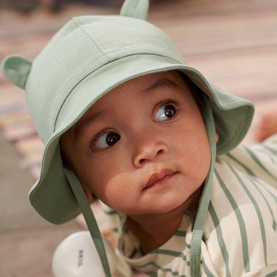 Solhatt med ører, baby grønn