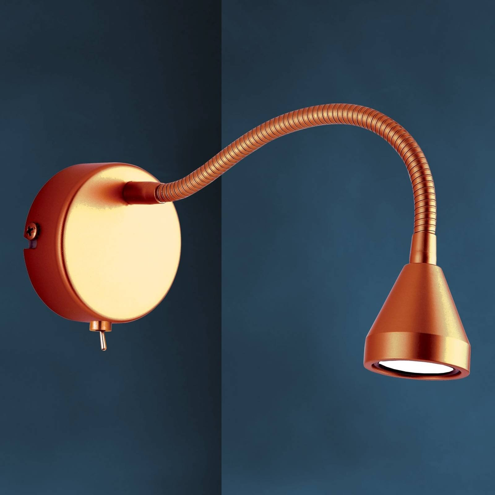 Fleksibel MINI LED-vegglampe med antikk finish