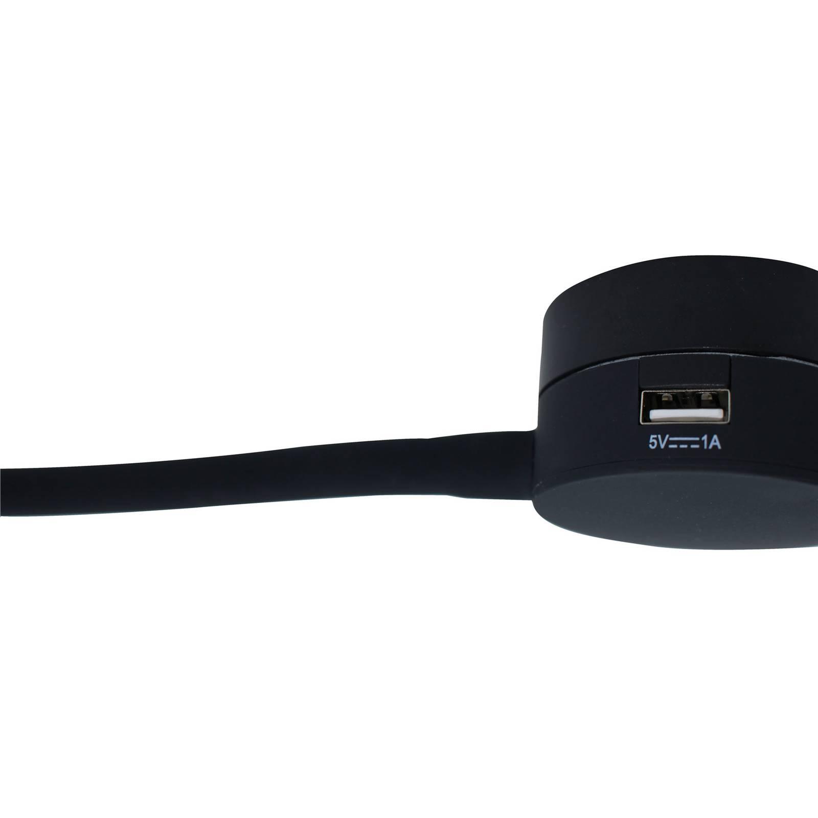LED-seinävalaisin Suma, musta, USB