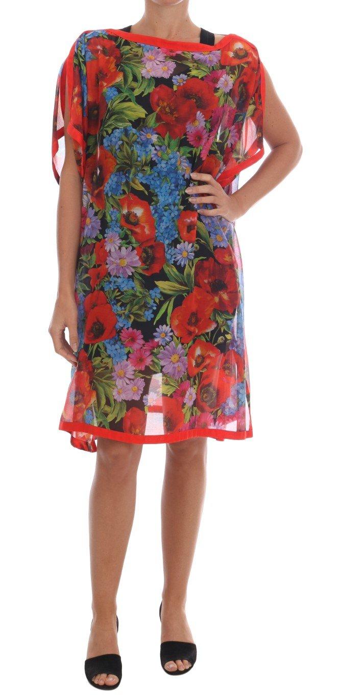 Dolce & Gabbana Women's Floral Silk Poncho Dress Multicolor DR1240 - IT36|XXS