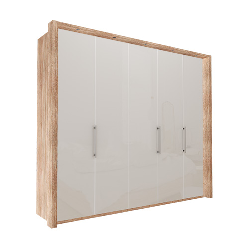 Garderobe Atlanta - Lys rustikk eik 250 cm, 236 cm, Med ramme