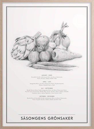Sesongens Grønnsaker Poster 30x40 cm