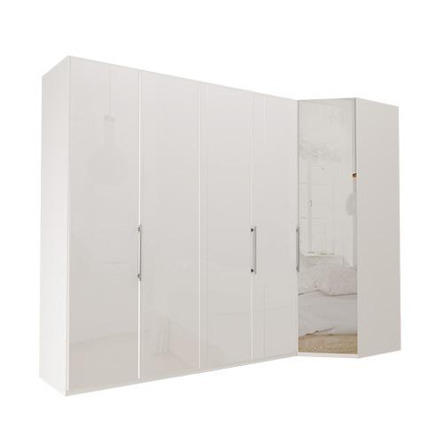 Garderobe Atlanta - Hvit 200 cm, 236 cm, Hvitt glass