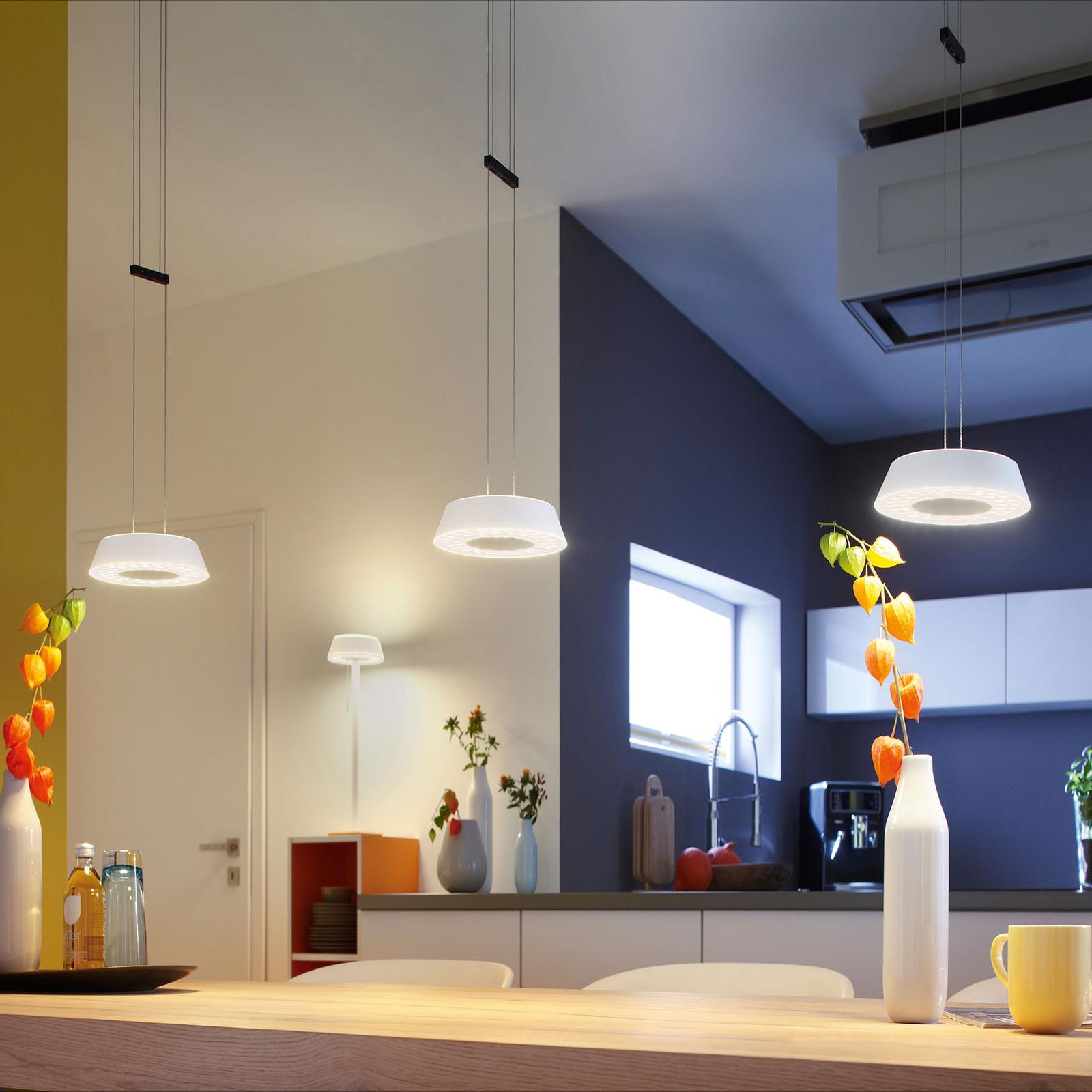 OLIGO Glance LED-riippuvalo 3 lamp., valkoinen