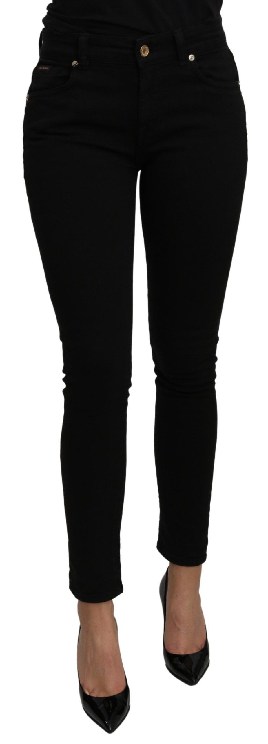 Dolce & Gabbana Women's Mid Waist Slim Fit Cotton Jeans Black PAN71107 - IT38|XS