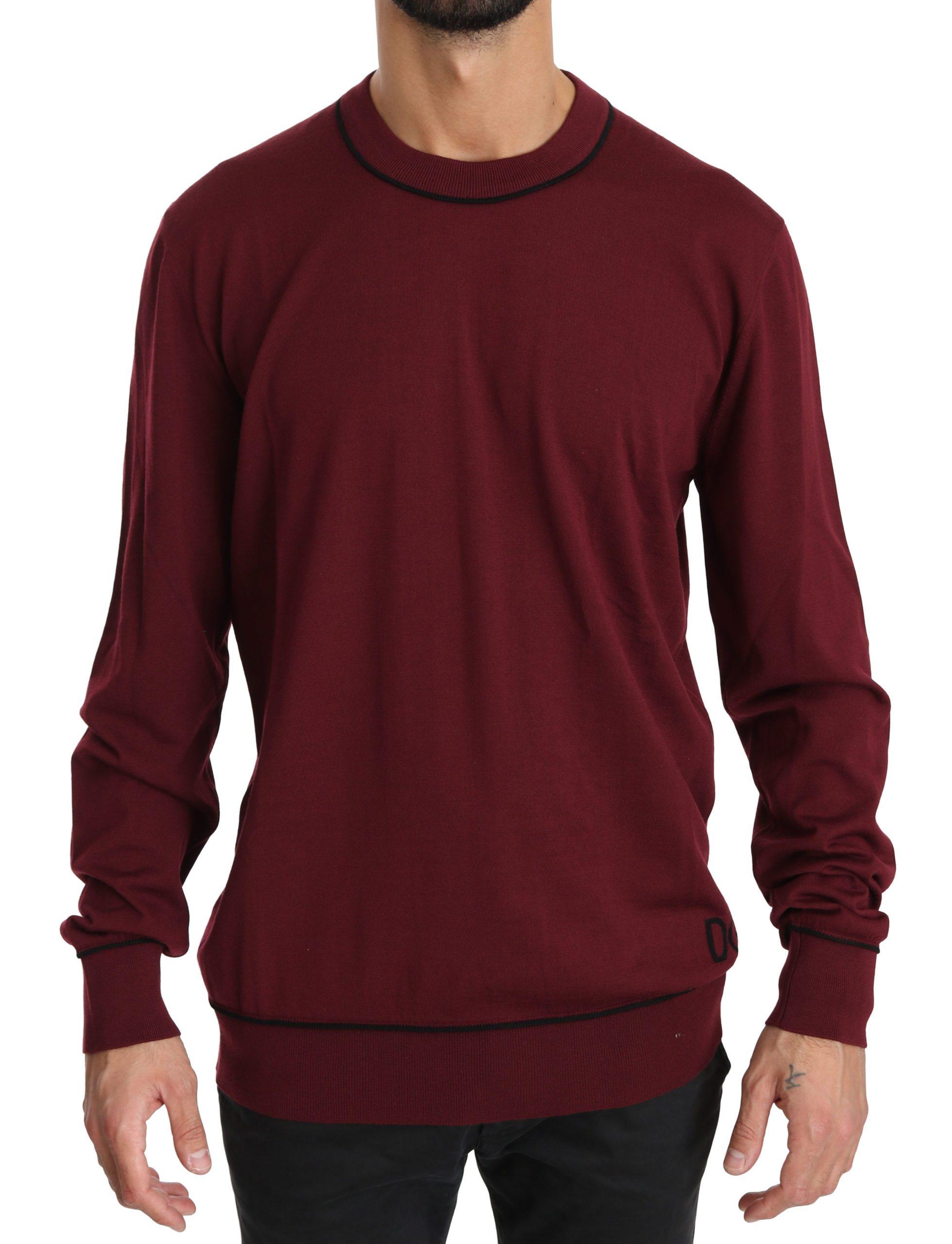 Dolce & Gabbana Men's Maroon DG Logo Crewneck Pullover Sweater Bordeaux - IT52 | XL