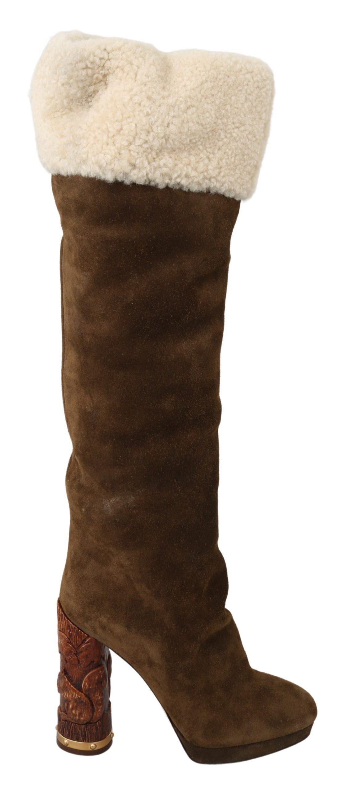 Dolce & Gabbana Women's Suede Shearling Knee High Boot Brown LA7088 - EU39/US8.5