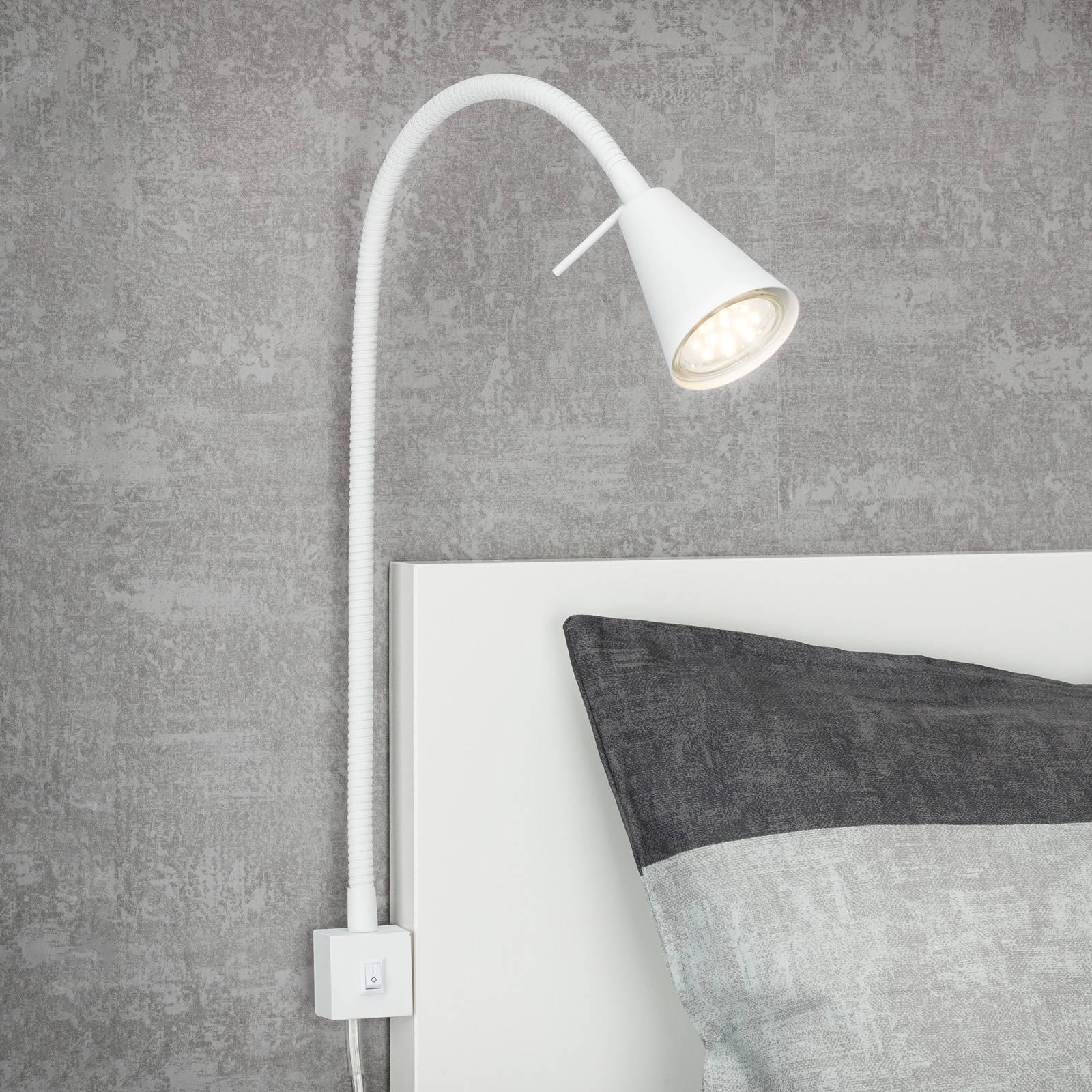 2080-LED-seinävalo asennus sängynreunaan valkoinen