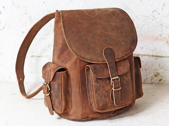 Leather Rucksack Large