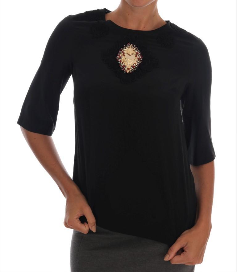 Dolce & Gabbana Women's Sacred Heart Lace Top Black TSH1418 - IT36 XXS