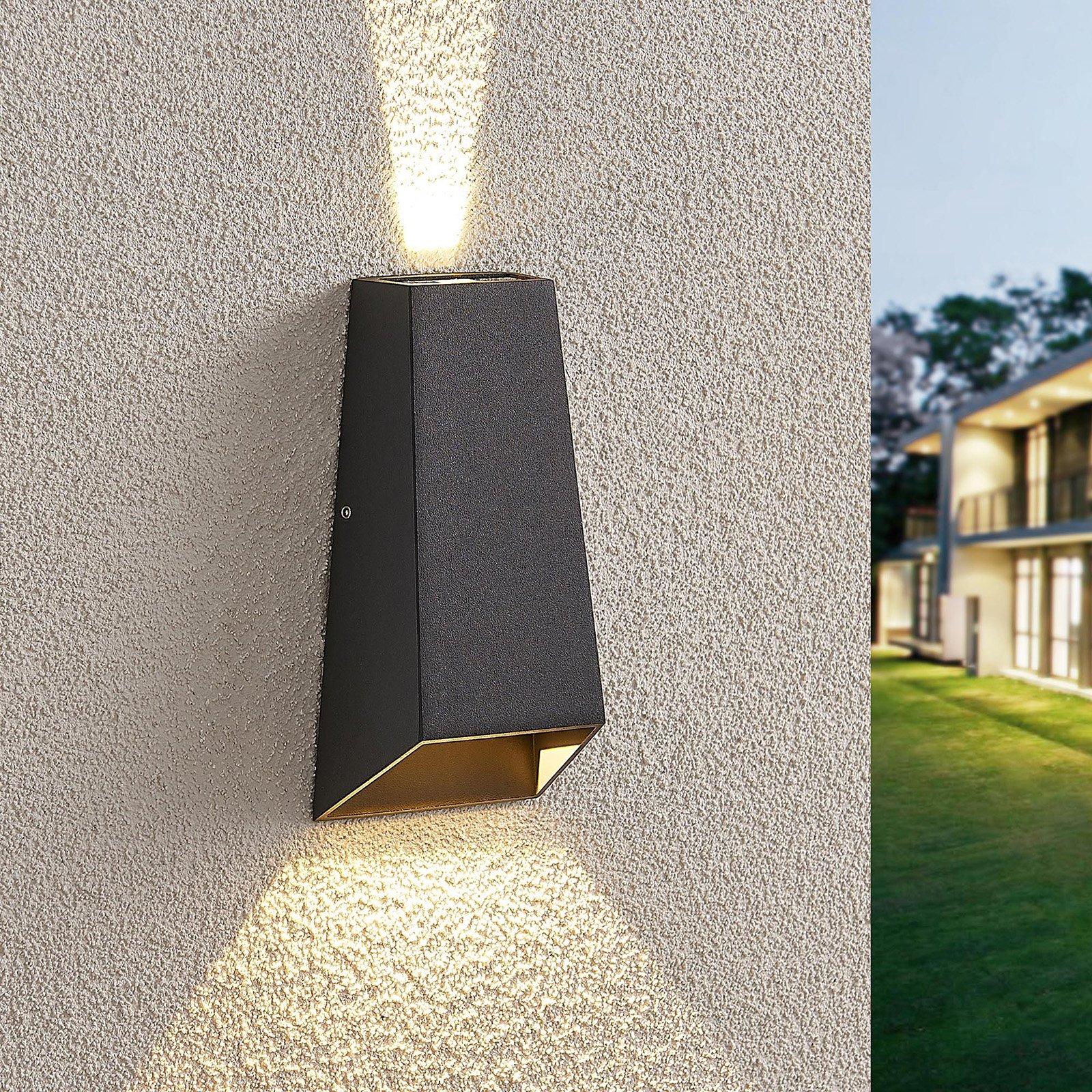 Utendørs LED-vegglampe Dagur, mørk grå