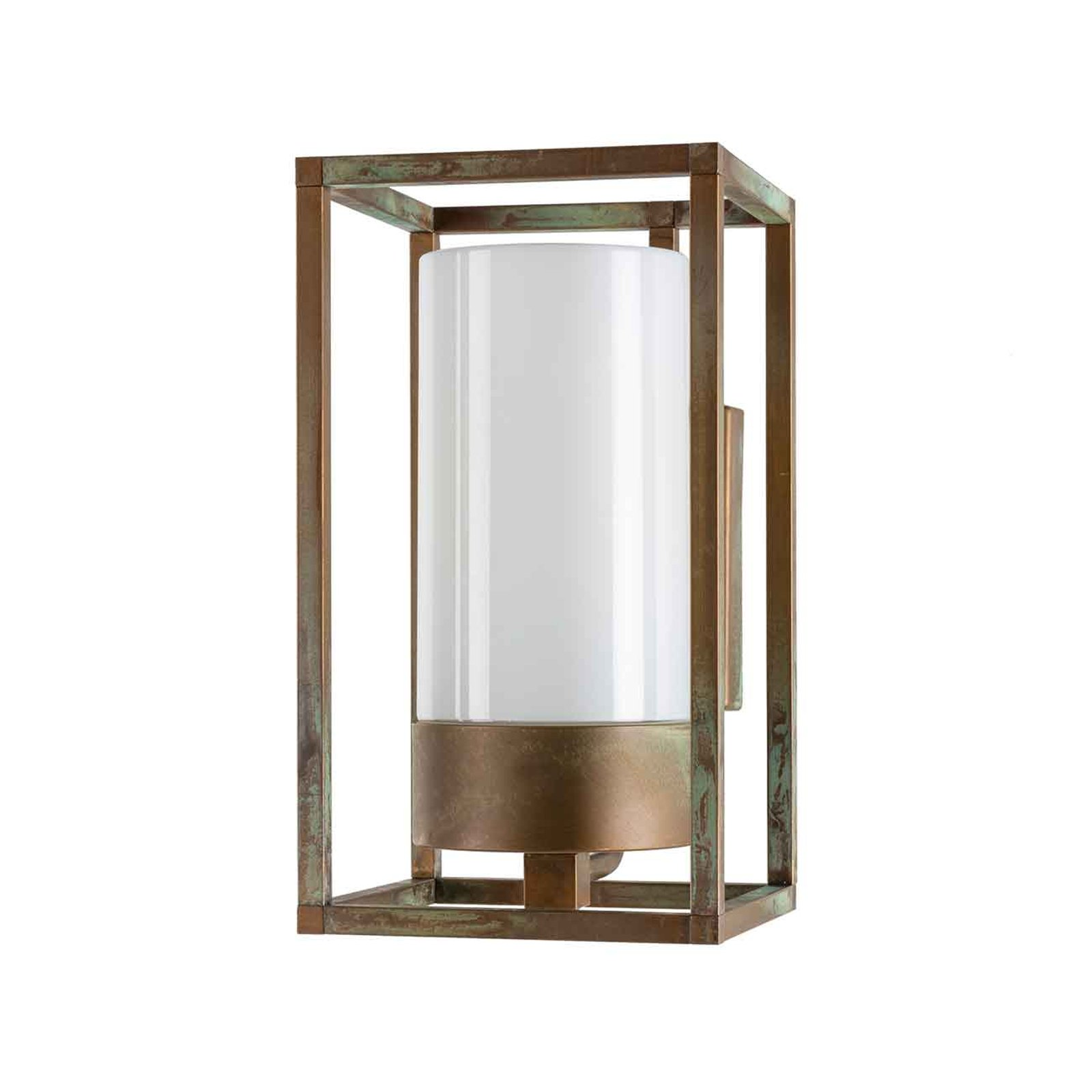 Cubic³ 3364 utendørs vegglampe antikk messing/opal