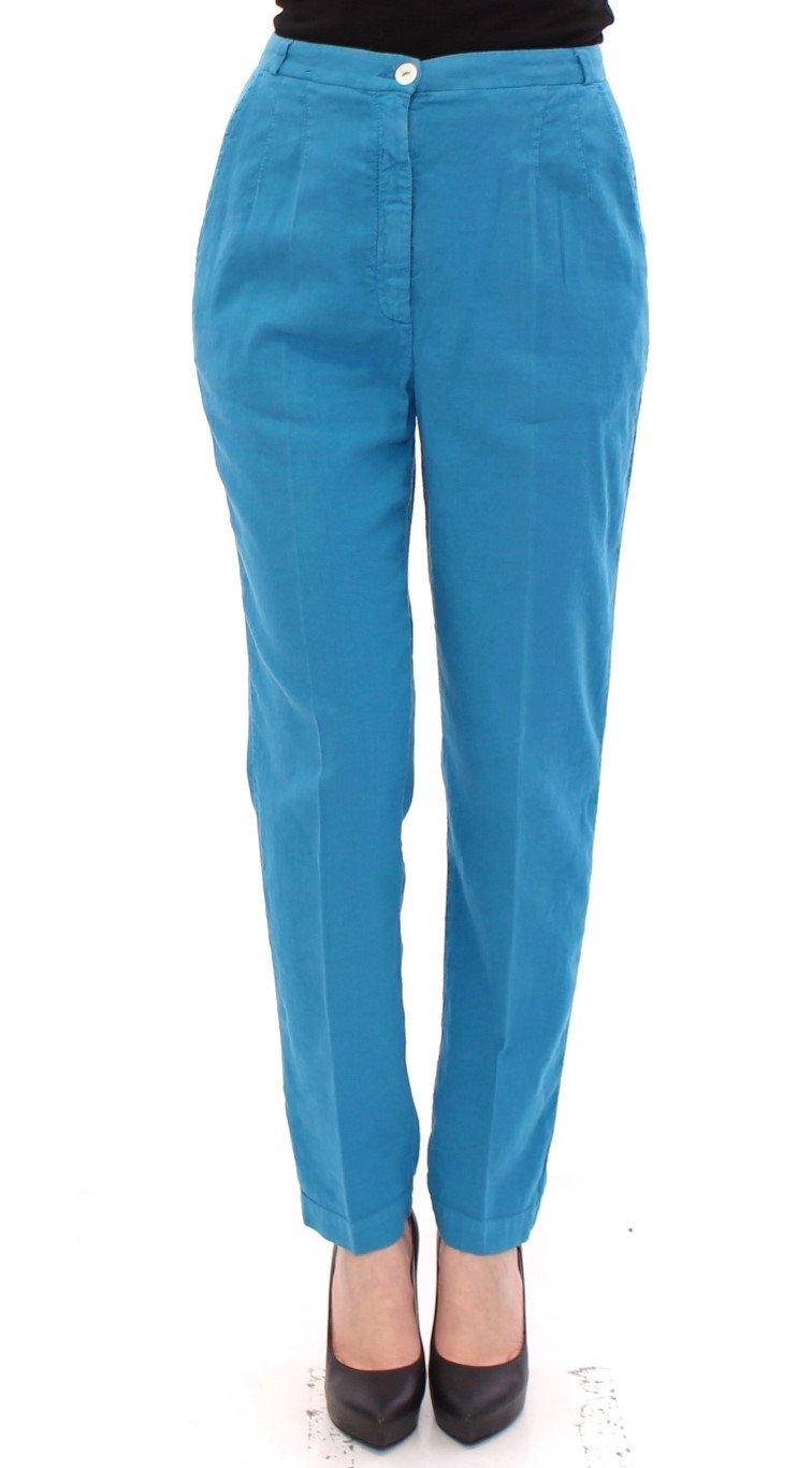 Dolce & Gabbana Women's Cotton Logo Thin Casual Trouser Blue GSS10300 - IT40 S