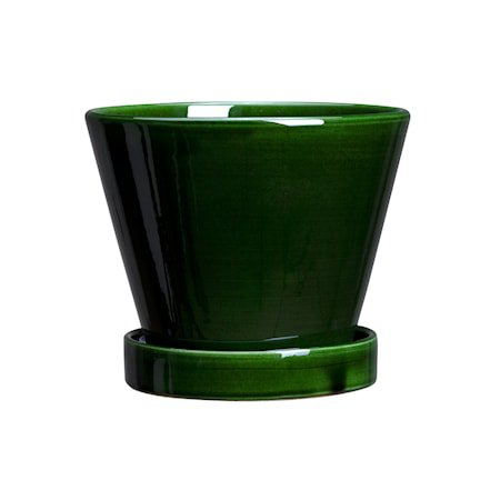 Julie Krukke med fat Glazed Green Emerald 13 cm