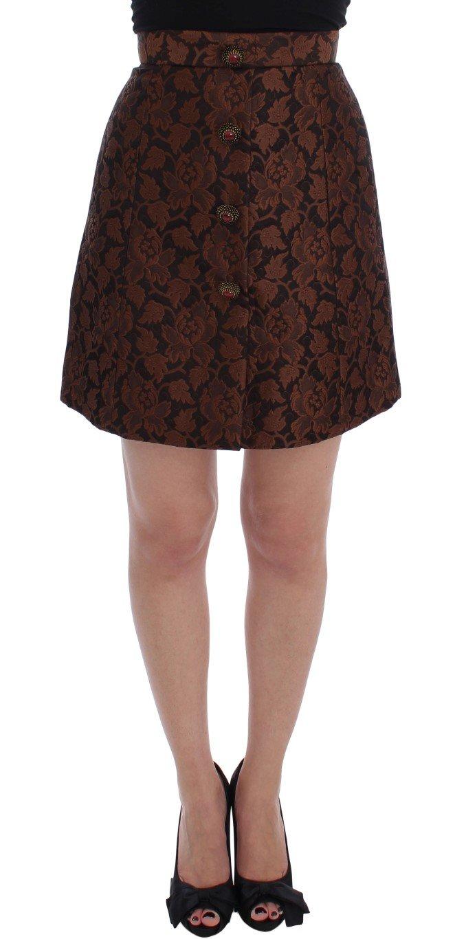 Dolce & Gabbana Women's Floral Brocade Mini Bubble Skirt Brown SIG17466 - IT40 S