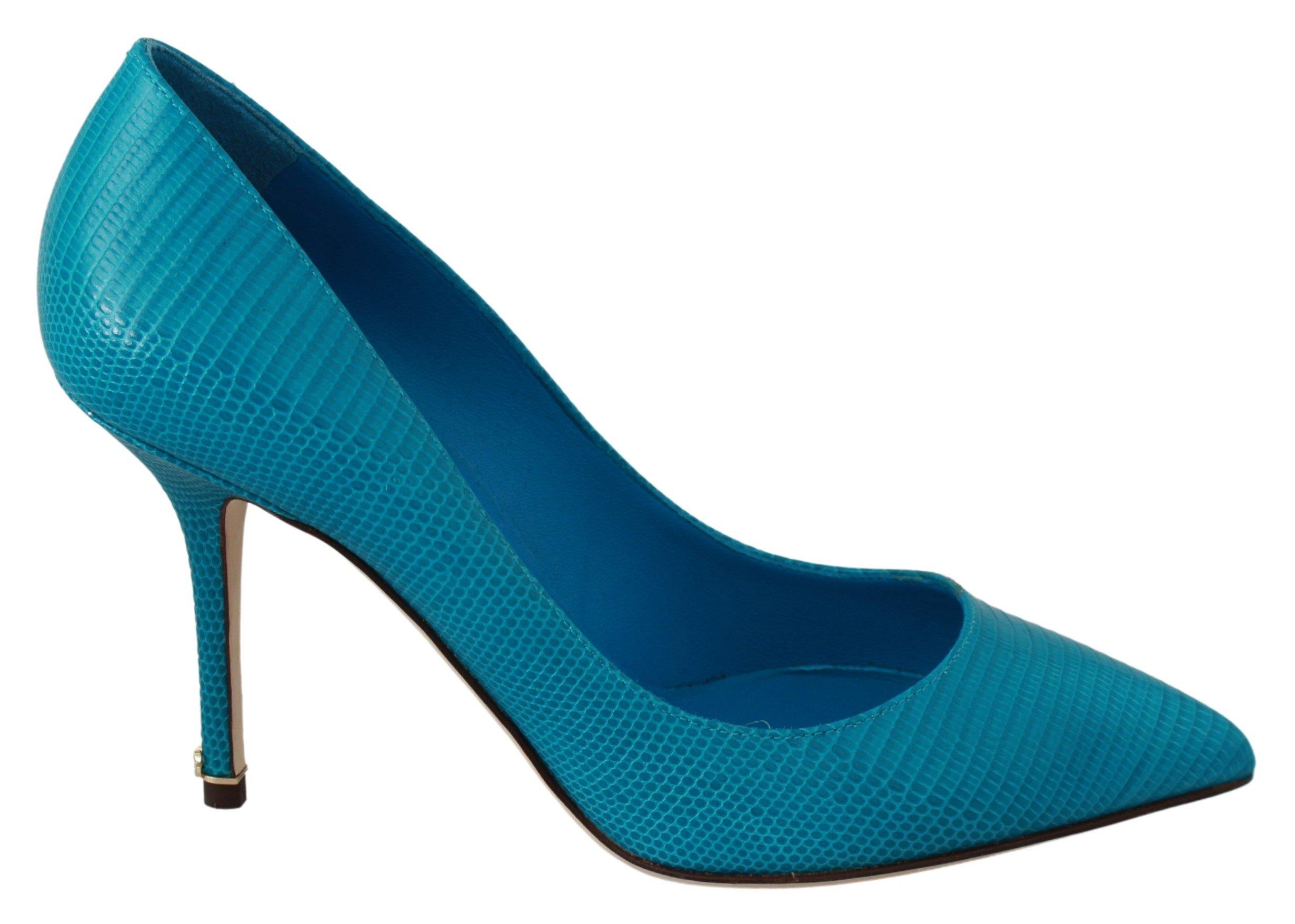 Dolce & Gabbana Women's Leather Classic Heels Pumps Shoes Blue LA6520 - EU35.5/US5