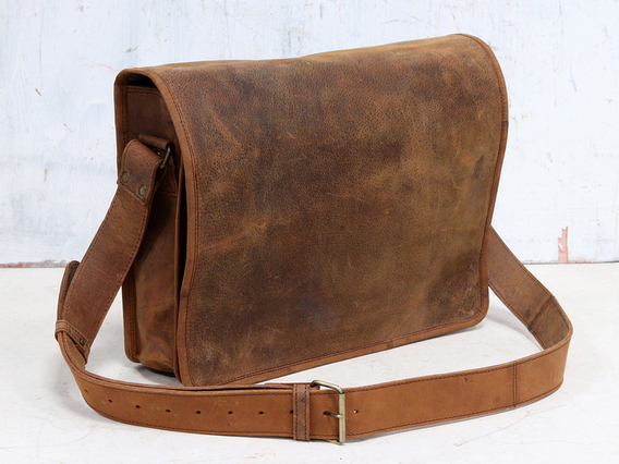 Mens Leather Messenger Bag Medium 15 Inch Brown 15 Inch