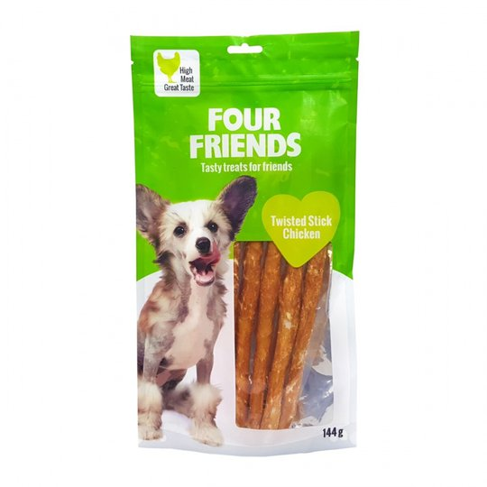 FourFriends Dog Twisted Stick Chicken 25 cm (5-pack)