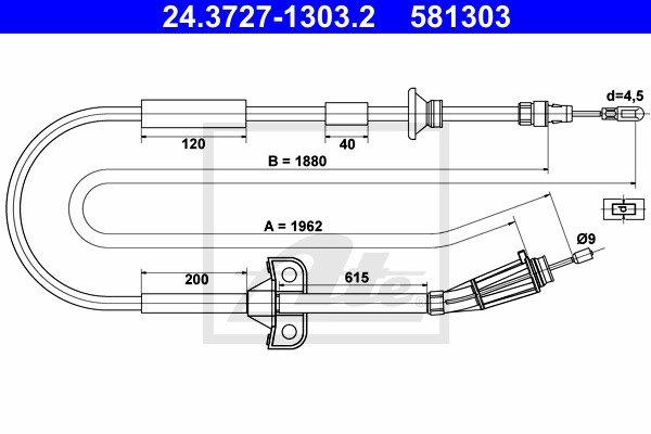 Käsijarruvaijeri ATE 24.3727-1303.2