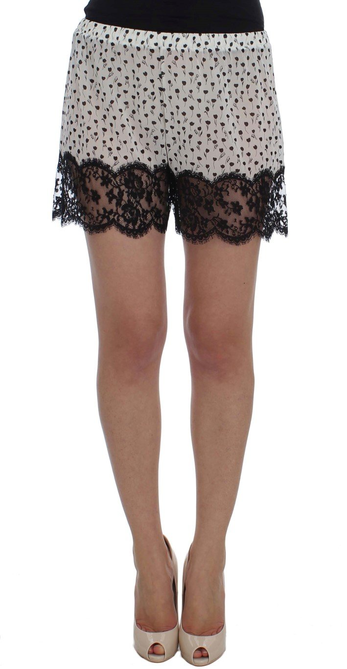Dolce & Gabbana Women's Floral Lace Silk Sleepwear Shorts Black/White SIG30077 - S