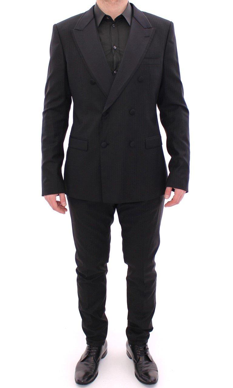 Dolce & Gabbana Men's Striped Double Breasted Slim Fit Suit Beige GSD10224 - IT54 | XL