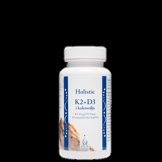 K2+D3-vitamin i kokosolja 60 kapslar