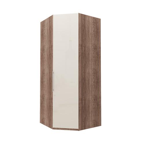 Hjørne Atlanta garderobe 236 cm, Mørk rustikk eik, Magnolia glass