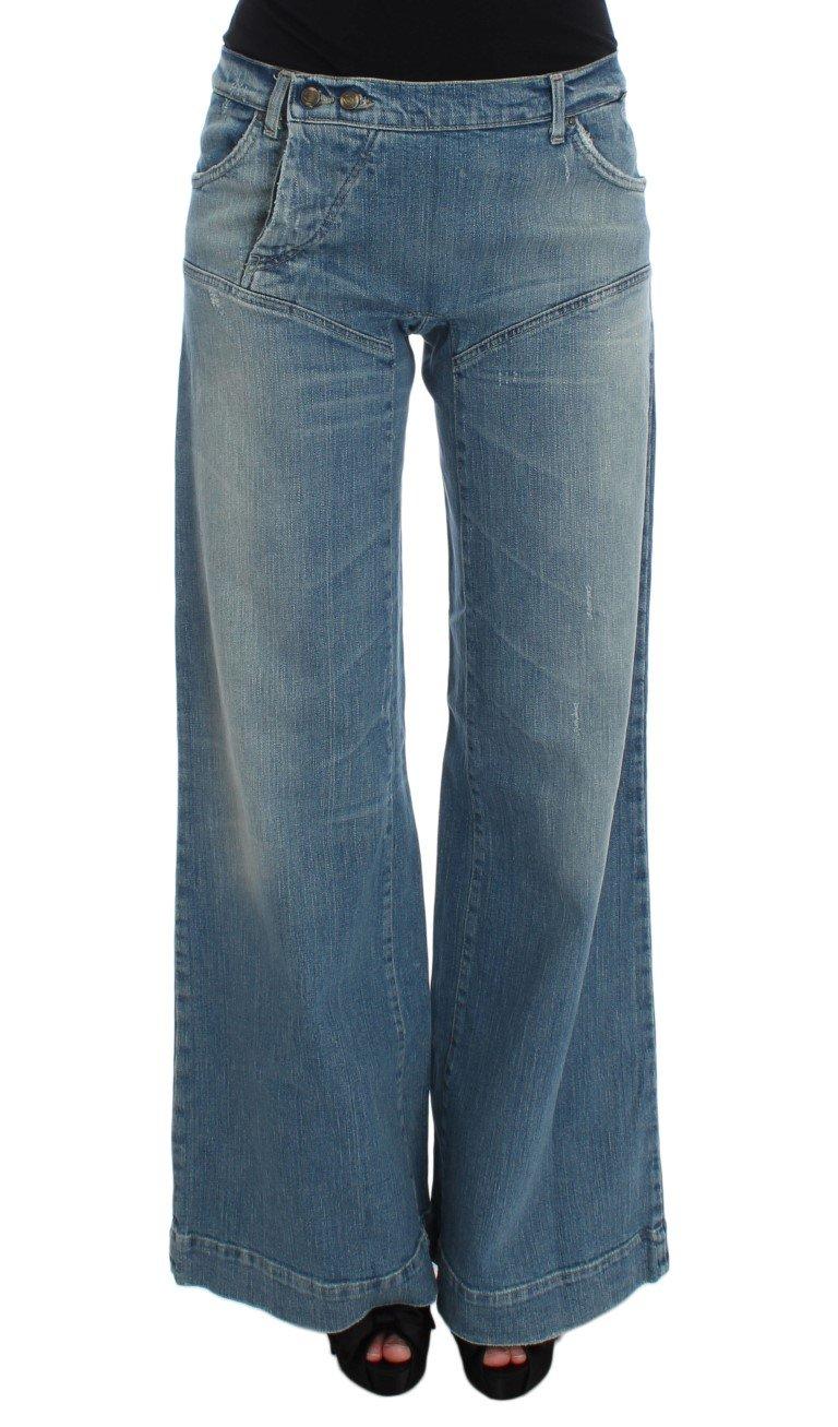 Cavalli Women's Wash Cotton Blend Wide Legs Jeans Blue SIG32417 - W26