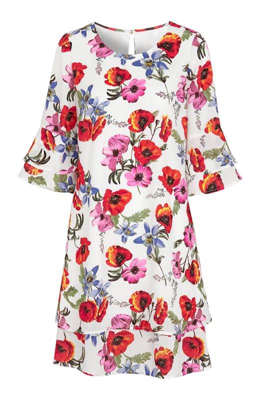 Cellbes Blommig klänning med volangärmar Blommig
