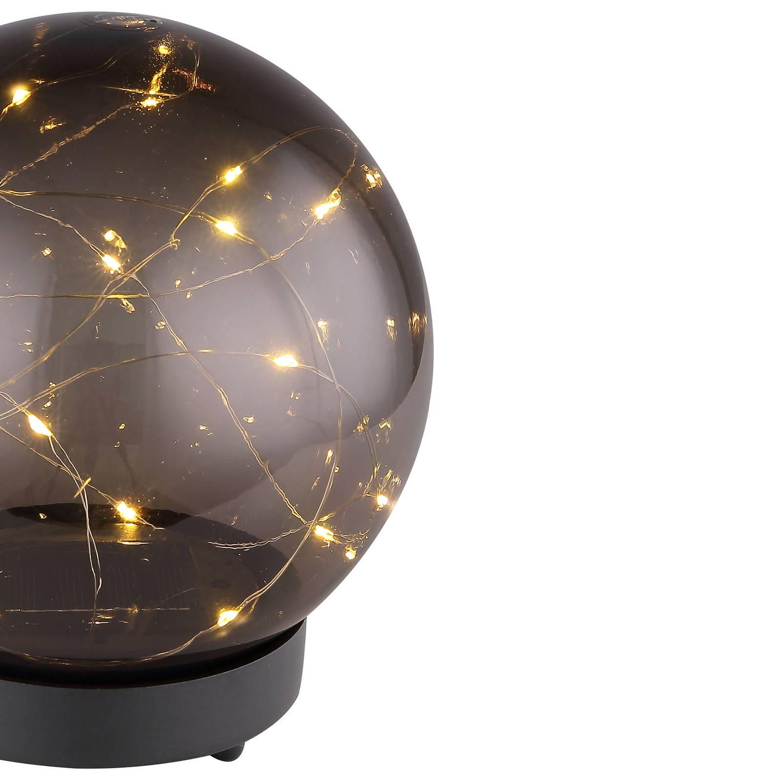 Aurinkokäyttöinen LED-valo, pallo, savu, Ø 15 cm