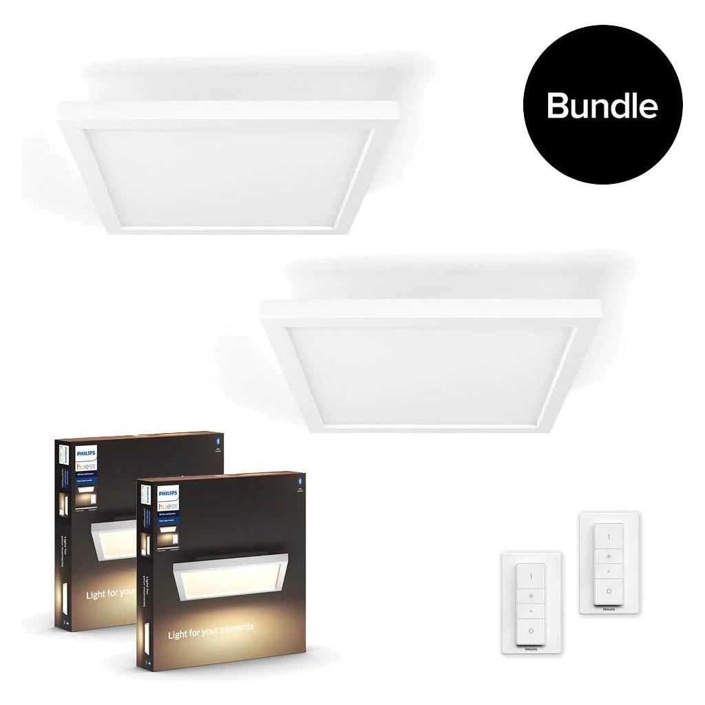 Philips Hue - 2x Aurelle Hue Panel Ceiling Lamp - Bundle