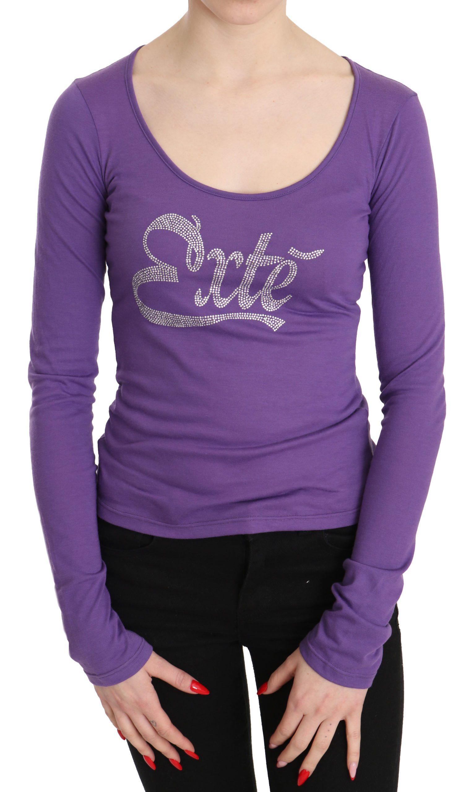 Exte Women's Exte Crystal Embellished Long Sleeve Top Purple TSH3413 - IT40|S