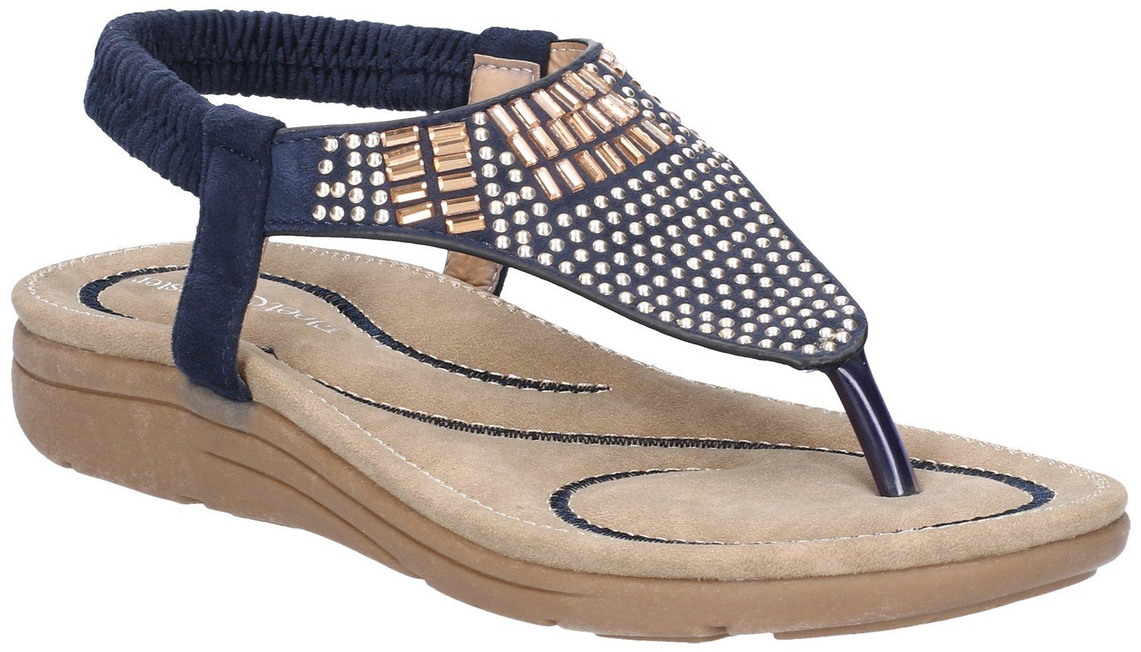 Fleet & Foster Women's Mulberry Elastic Sandal Various Colours 28277 - Navy 3