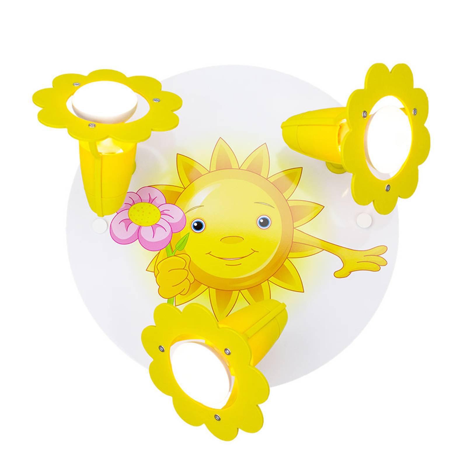 Taklampe Sun med blomst, 3 lyskilder, gul og hvit