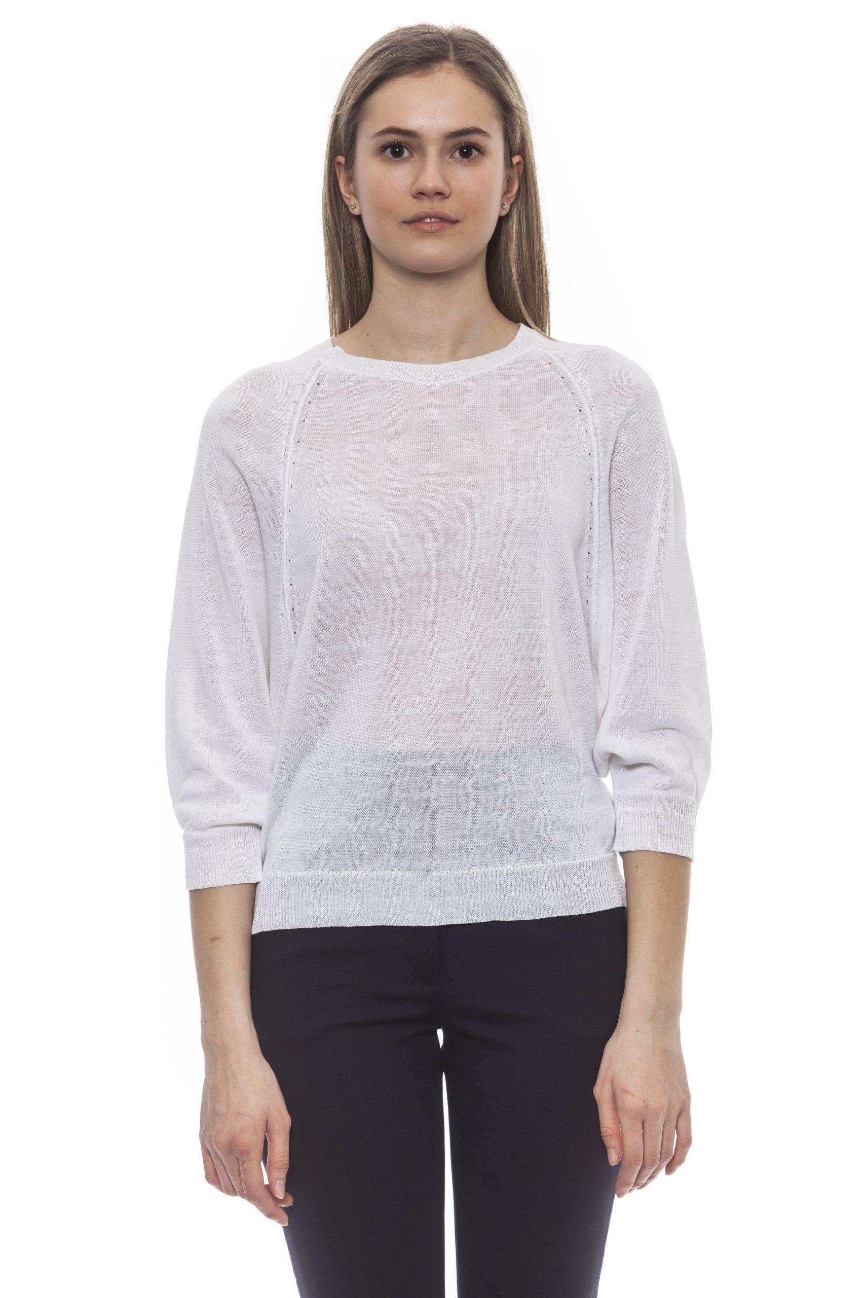 Peserico Women's Bianco Sweater PE1383094 - IT42 | S