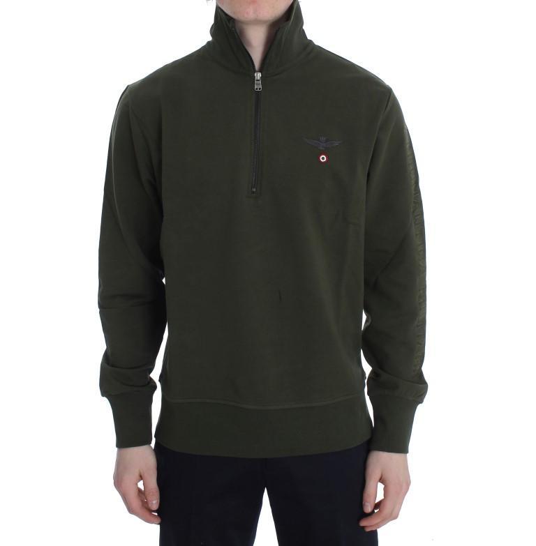 Aeronautica Militare Men's Cotton Stretch Half Zipper Sweater Green SIG30637 - S