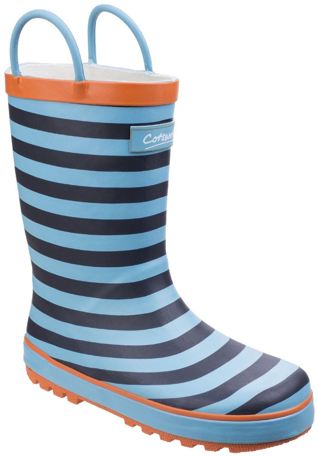 Cotswold Kids Captain Stripy Wellies Boot Blue 25545 - Blue 4.5