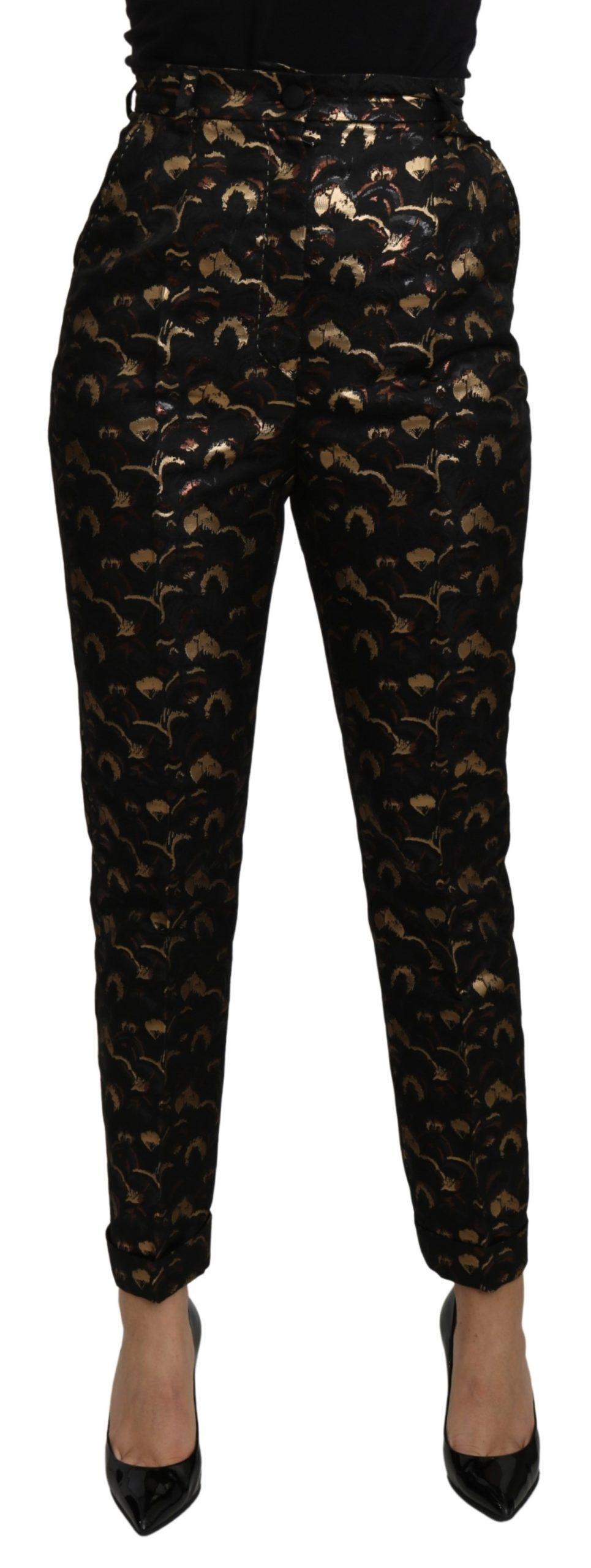 Dolce & Gabbana Women's Brocade High Waist Trouser Black PAN71088 - IT40|S