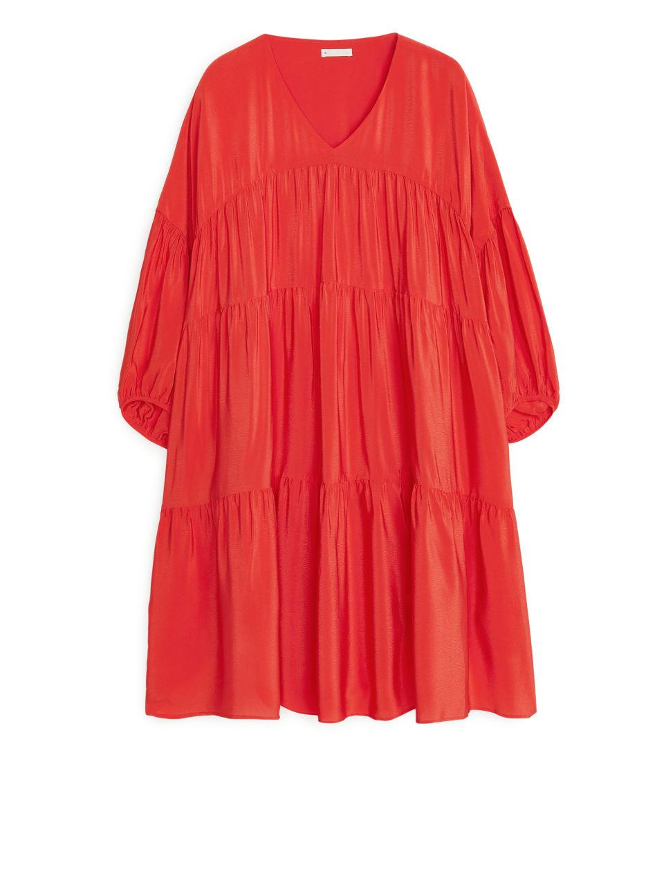 Short Ruffled Dress - Red