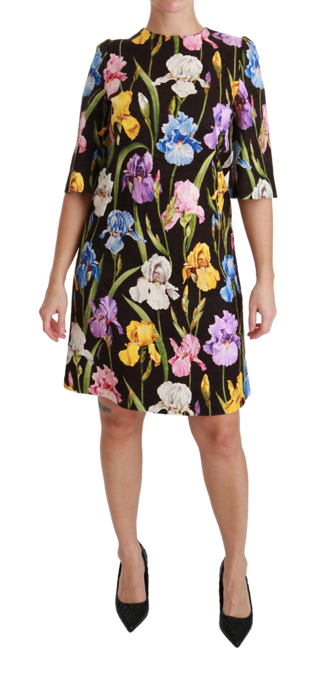 Dolce & Gabbana Women's Cotton Silk Floral Shift Dress Black DR2544 - IT38|XS